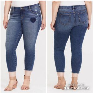 Torrid Mid Rise Heart Patchwork Ankle Skinny Jeans